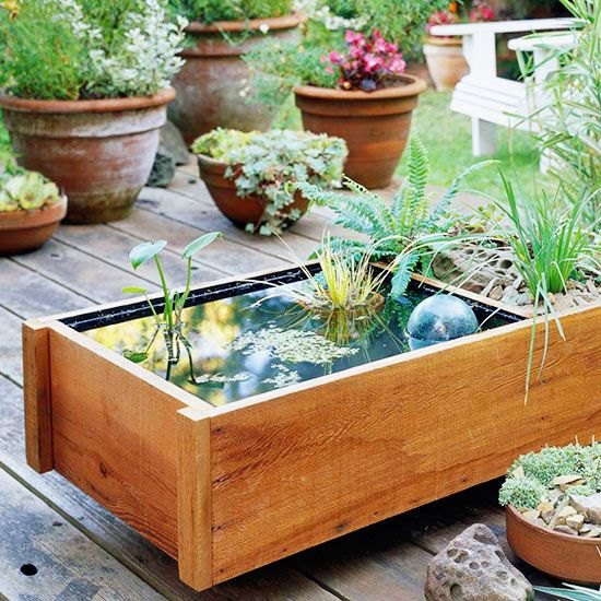 Lack room for a spacious in-ground water feature? You can craft this nifty pond in a box that fits on a small balcony, deck, or patio.