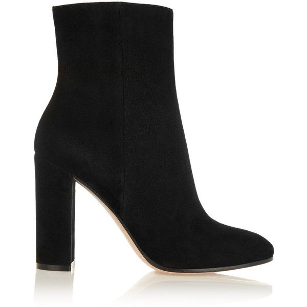 Gianvito Rossi Suede boots (£615) ❤ liked on Polyvore featuring shoes, boots, ankle booties, heels, gianvito rossi, ankle boots, black, heel boots, suede shoes and suede leather boots