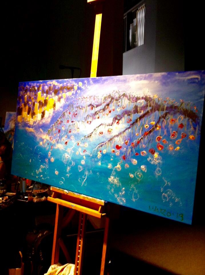 """""""And the Fruit is for Healing"""" Painted live in 30 mins worship at DaySpring Church, Sydney, Bill Johnson Conference 2013. #wendymanzo #propheticart #worshipart #liveart #speedpainting #billjohnson"""