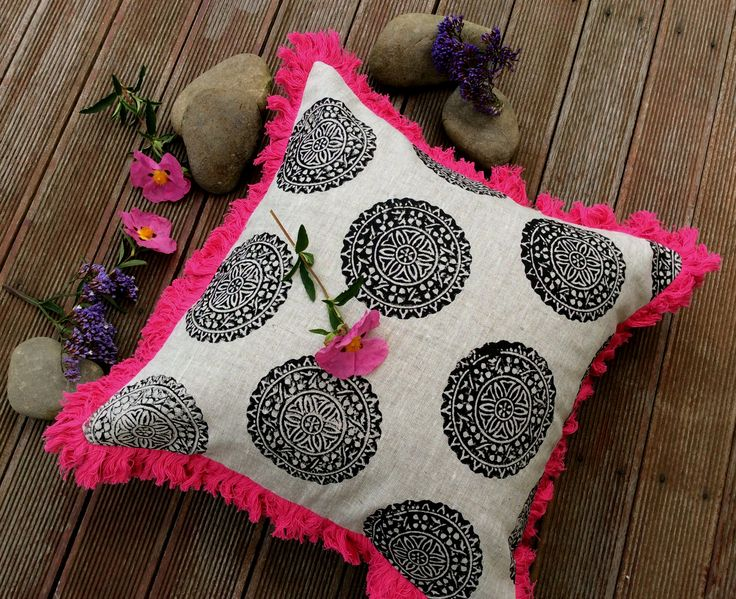 My handblock printed black medallion linen cushion with a striking pink brush trim, inspired by my travels in Southern India, perfect for any room, eclectic & a bit bohemian.