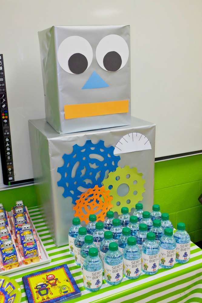 Cool decorations at a robot birthday party! See more party planning ideas at CatchMyParty.com!