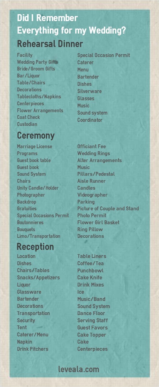 Here is a Wedding Checklist of everything you need to have at your Wedding Rehearsal, Ceremony and Reception! http://www.leveala.com/remember-everything-wedding-wedding-checklist/ Plan your wedding now! - http://tips-wedding.com/how-to-plan-wedding-checklist/