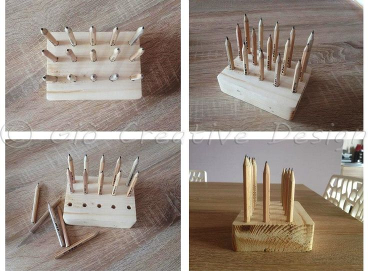 Portamatite realizzato con legno da scarto