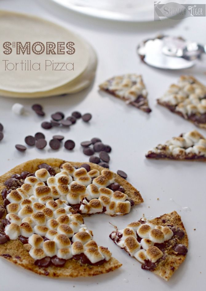 S'mores Tortilla Pizza with Gingered Chocolate from Spinach Tiger