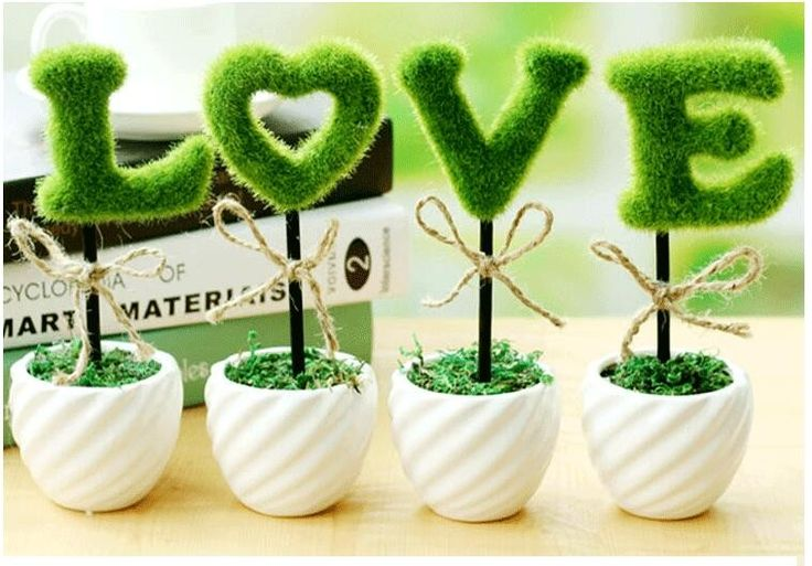 Nuevo diseño al por mayor de alta calidad mini jardín de flores Artificiales bonsai regalo de boda amor flor artificial