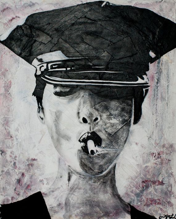 Police Woman Smoking Fine Art Print in Black and by KimLegler, £20.00