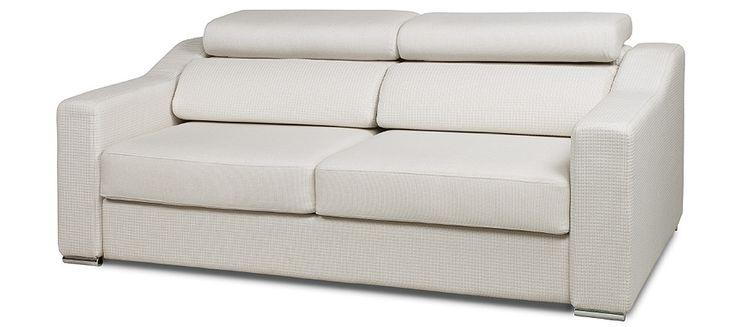 LEVALLOIS : Un canapé design à la ligne très épuré. Des coussins de dossiers bas surélevés par des appuie tête élégants. Canapé convertible pour couchage quotidien .Ouverture par renversement du dossier. Tous les coussins restent en place.
