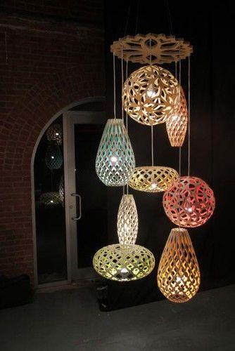 David Trubridge pendant lights - Aluminum. Also, at http://www.ylighting.com/brand/David-Trubridge-Design/_/N-1sbd7
