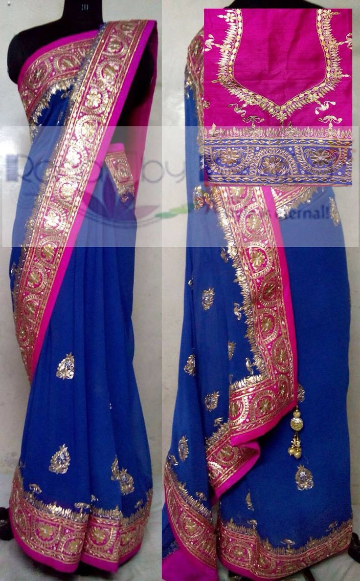 Contrasts and fine work, gorgeous gota patti handwork Saree.