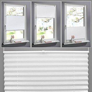 SHINY HOME® Jalousien Plissee mit Gardinenstange Klemmträger Vorhang Single Elegant Sonnenschutzrollo für Fenster Tür ohne Bohren Fensterrollo Gardinen Weiß 100x130cm