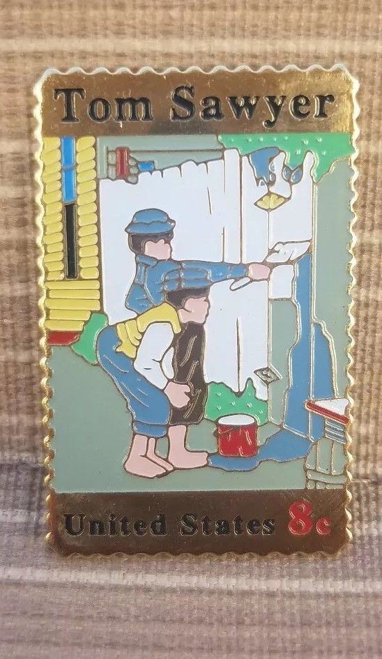 Post Office Stamp Collectible Pin Tom Sawyer United States 8c FREE SHIPPING
