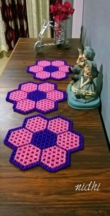 Beaded Flower Mat @Rs 250 each
