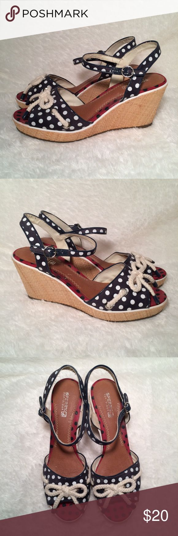 Last Day SALE! Sperry Top-Sider Wedges In very nice condition. The color is navy blue and cream. Sperry Top-Sider Shoes Wedges