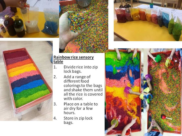 Rainbow rice sensory table Divide rice into zip lock bags.  Add a range of different food colorings to the bags and shake them until all the rice is covered with color.    Place on a table to air dry for a few hours.  Store in zip lock bags.