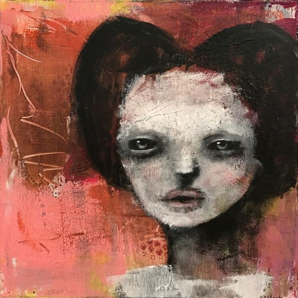 "Art by Kari Anne Marstein, at Purenkel gallery in Oslo.  ""Kanskje"", 40x40 maleri"