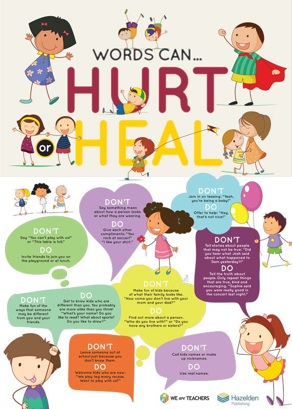 free classroom poster words can hurt or heal words