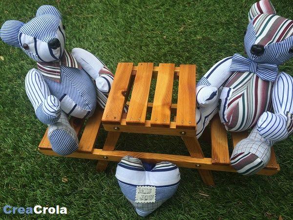 Herinneringsberen Balou, gemaakt van opa's overhemden. Mooi aandenken. www.creacrola.nl
