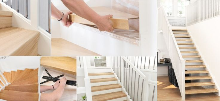 Kollage - den enkla vägen till en renoverad trappa. Trapprenovering och trappinspiration: http://www.lundbergs.com/sv-se/guider/renovera-trappan
