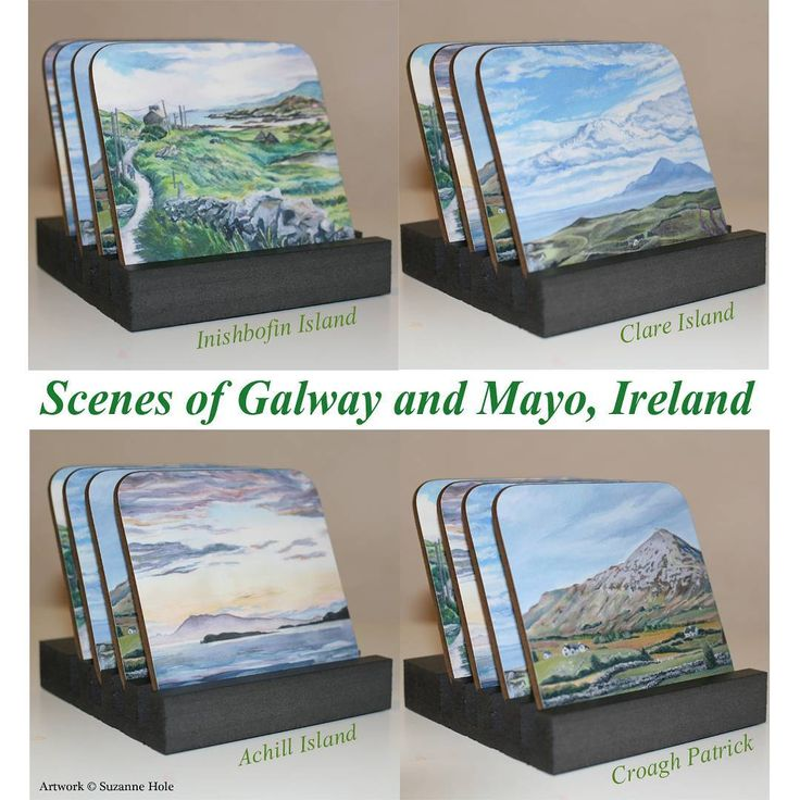 Wooden coasters with scenes of Galway and Mayo, Ireland.  Featuring Croagh Patrick and Clare Island in County Mayo, and Inishbofin Island and Achill Island (View from Lettergesh beach) in Connemara, County Galway.  Please visit my portfolio of work on Zippi to view and order these or any other gifts with my artwork on: https://www.zippi.co.uk/portfolio/suzannehole  For more info about these coasters please see my original Instagram post…