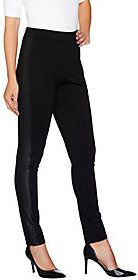 Denim & Co. As Is Studio by Ponte Knit Pull on Pant with Faux Leather