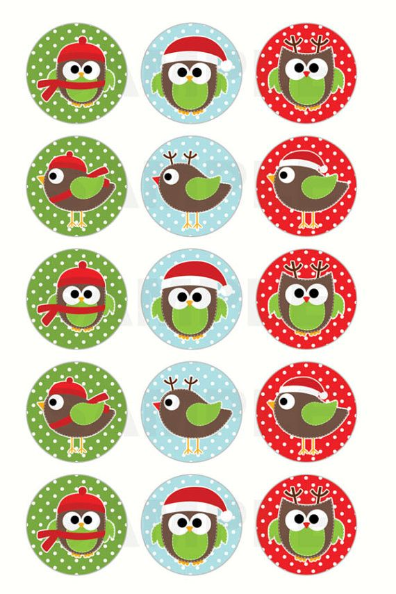 Christmas Owls and Birds Bottle Cap Images