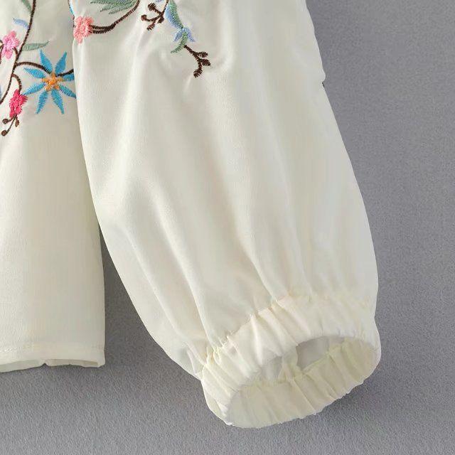 H. SA Летние Белые Блузки Рубашки С Длинным Рукавом Off the Шолдер Цветочной Вышивкой Женщины Топы С Плеча Blusa Feminina корейский Топ