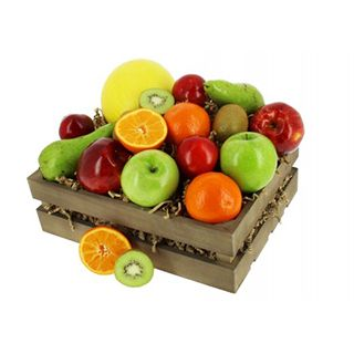 Presented in a wooden crate, this fruit hamper offers a wide range of seasonal fresh fruit.