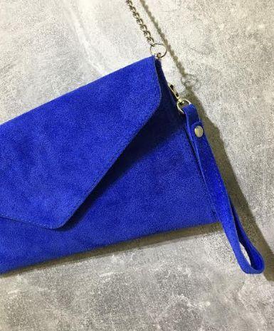 PinkCad29 Electric Blue Suede Envelope Clutch Bag