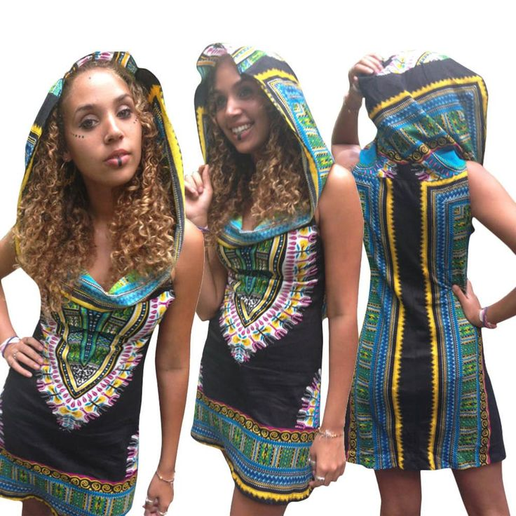 Hooded Sleeveless Dashiki Print Black Dress
