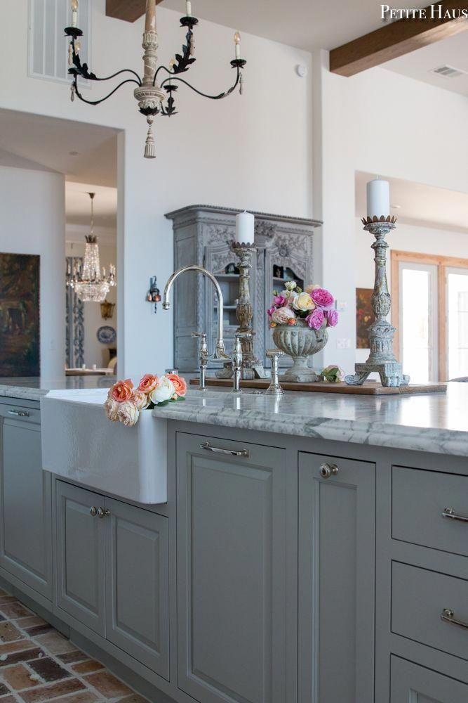 French Country Farmhouse, Country Gray Kitchen Cabinets
