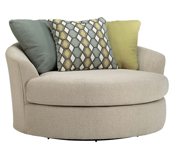Signature Design By Ashley Casheral Linen Oversized Swivel Accent Chair Overstock Shopping Great Deals On Signature Design By Ashley Living Room Chairs