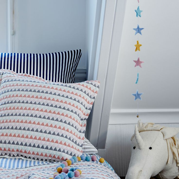 Bring a touch of colour into your child's room with the Laluque Garland. The pretty, powdered stars are handmade from soft wool felt strung together using white woollen yarn. Hang this decorative design across the bed or along the walls to bring colour and warmth to your little one's room. Ethically created in Nepal through a scheme that encourages the education of children from disadvantaged backgrounds, the Laluque Garland is a product with heart.