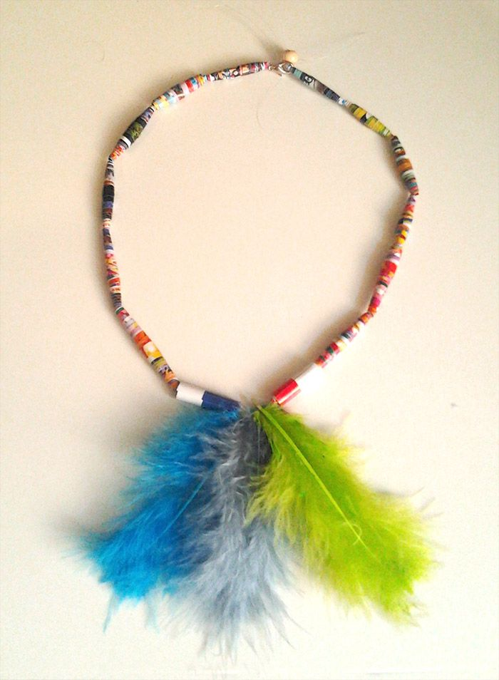 Native American Paper Beaded Necklace craft for kids