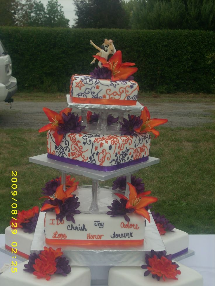 plum and orange square wedding cakes | plum and orange in a fun way hand painted scroll work in these colors ...