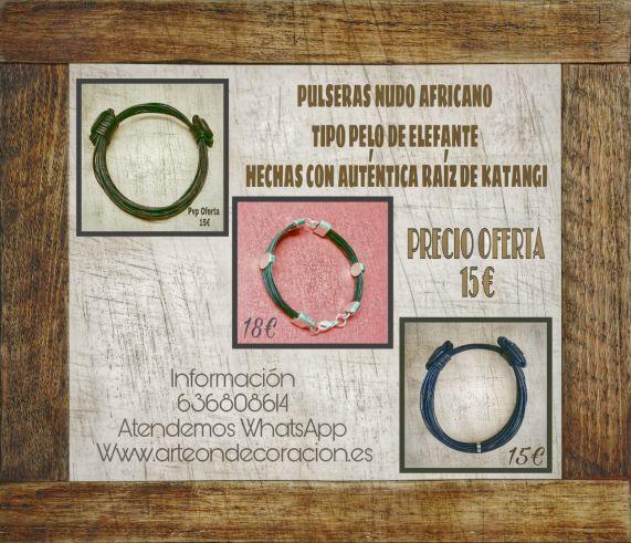 PULSERAS NUDO AFRICANO        PULSERAS NUDO AFRICANO TIPO PELO DE ELEFANTE HECHAS CON AUTÉNTICA RAÍZ DE KATANGI. ACABADO DE MUCHA CALIDAD. NUDO PERFECTAMENTE TERMINADO. PRECIO OFERTA 15 €. 636808614. ATENDEMOS WHATSAPP.      http://www.anunciocaza.com/ad/pulseras-nudo-africano/