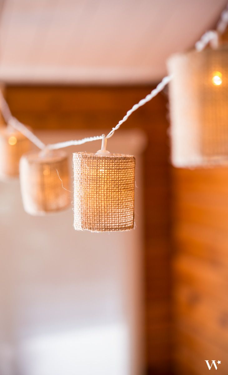 String of Lights with Natural Burlap Shades - Battery LED Places, Minis and Wedding