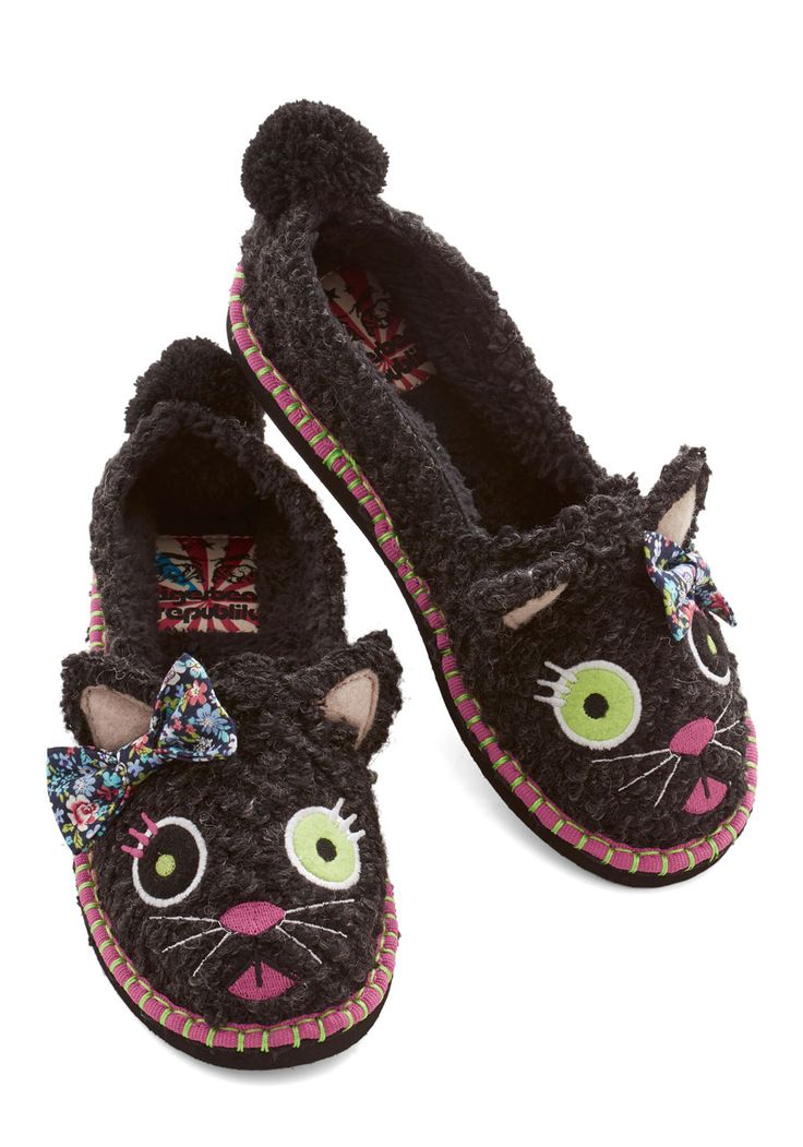 For Feet's Sake Slippers in Cat. Whats cuter than looking down on brightly painted toenails? #black #modcloth