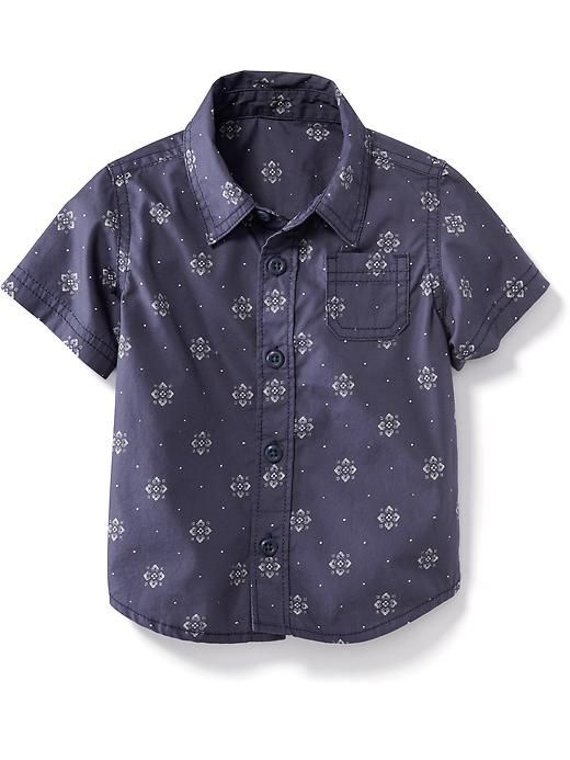 Printed Short-Sleeve Oxford for Baby Product Image