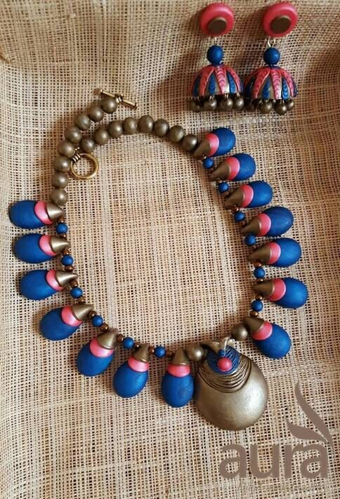 Check out this item in my Etsy shop https://www.etsy.com/listing/264804934/blue-and-golden-handmade-indian-jewelry