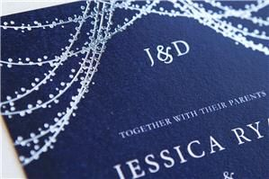 This Starlight wedding invitation features silver foil on a navy background. The couple's monogram is featured at the top and a classy font is used on the invite. Perfect for a romantic winter wedding. See options and order your invitation suite here: http://www.appleberrypress.com/wedding_stationery_1053_Starlight-Invitation