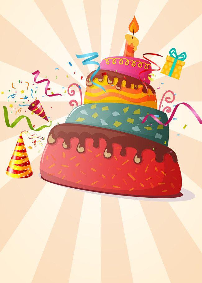 Happy Birthday Cake Hand Drawn Cartoon Poster Background Happy Birthday Kids Birthday Card Drawing Birthday Cartoon