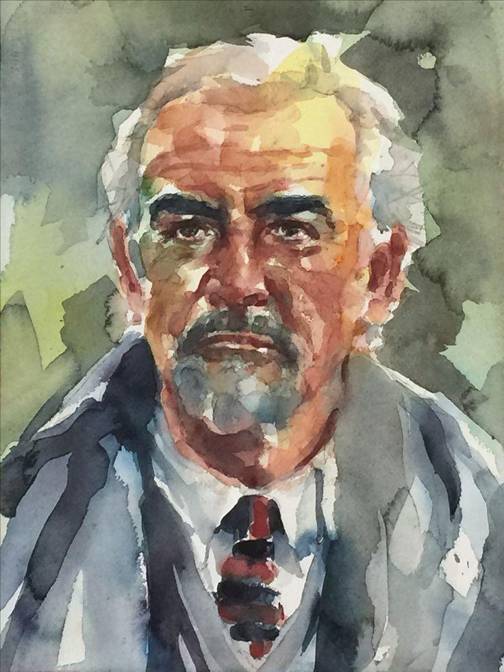 Retrato en Acuarela de Sean Connery realizado por Laura Castilla