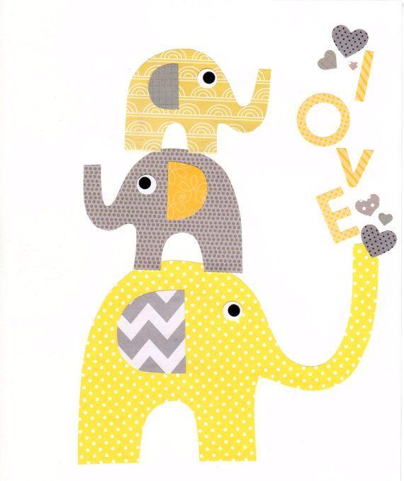 Amarillo y gris elefante vivero ilustraciones Print / / decoración de la habitación del bebé / niños de habitaciones decoración / / amarillo y gris vivero / / regalos menores de 20