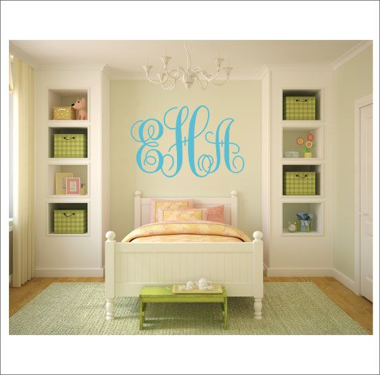 Monogram Vinyl Decal Large Monogram Decal by CustomVinylbyBridge