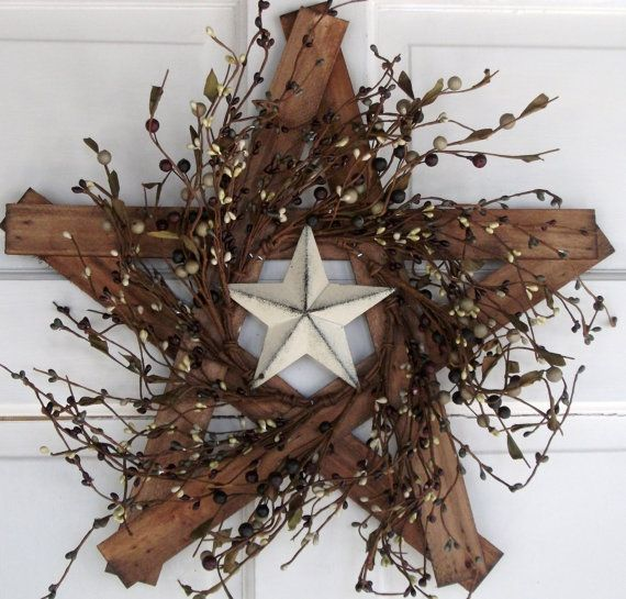 Country Primitive Wooden Star with berries and by nyflowerchic