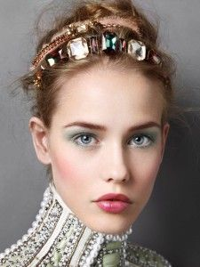 Party hair style, headband with stones.