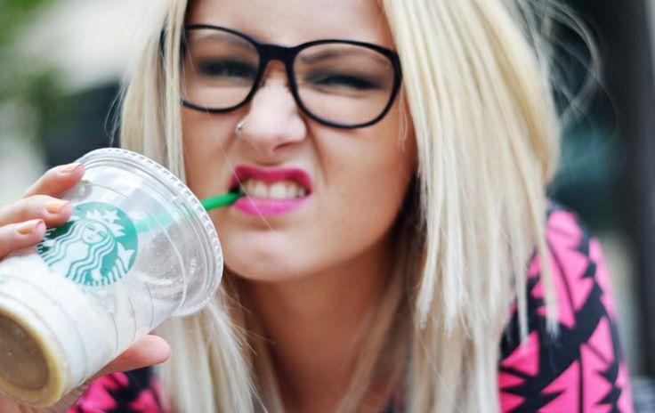 ViktoriaSarina [starbucks, girl, coffee, drink, glasses, geek, nerd, blonde, pink lips, fun, funny]
