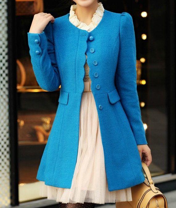 Women Blue OL Wool coat Cashmere winter coat Hood cloak Hoodie cape Hooded Cape/clothing /jacket/dress. $85.90, via Etsy.