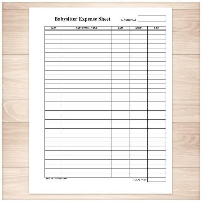 Monthly Babysitter Expense Sheet - Printable