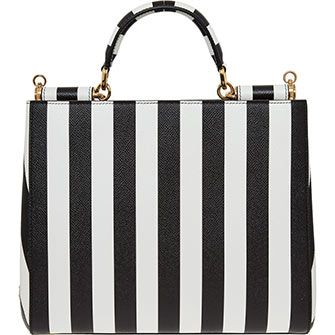 Black & White Striped Handbag
